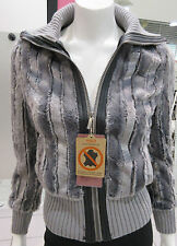Faux Fur Coat Large Gray Silver Soft Vegan Fur Zipper Front Baseball Style NWT