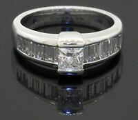 Heavy 14K white gold 1.50CT diamond engagement wedding ring size 6