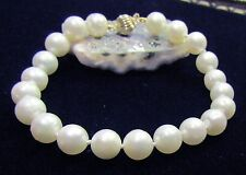 GENUINE SALTWATER CULTURED INDONESIAN SOUTH SEA PEARLS 14K GOLD BRACELET 7.5""