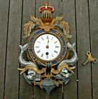 Victorian Naval Clock Cast Iron Cold Painted Anchor Dolphins Knight Crown C 1880