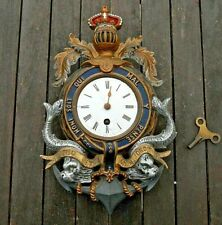 More details for victorian naval clock cast iron cold painted anchor dolphins knight crown c 1880
