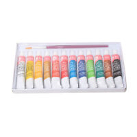 12 Color Paint Tube Draw Painting Acrylic Color with Paint Brush