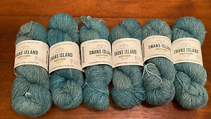 Swans Island All American Collection Wool/Alpaca Robins Egg Yarn Lot of 6 Skeins
