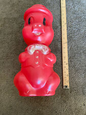 "Vintage 1965 A.J. Renzi Red 15"" Tall Blow Mold Plastic Pig Piggy Bank"