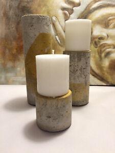 Cement Candle Tealight Holder Set of 3, Concrete Pillar Stone