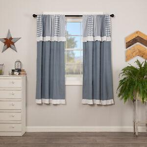 "VHC Brands Farmhouse 63""x36"" Panel Pair Blue Rod Pocket Sawyer Window Curtains"