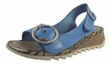 Fly London Tram Smurf Blue Womens Leather Suede Sandals Low Wedge - UK 4 / EU 37