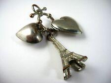 Vintage Collectible Keychain: Paris Eiffel Tower Heart Locket Design