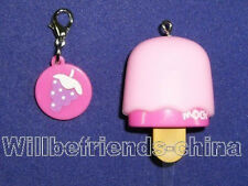 Ice Cream Popsicle Mobile Cell Phone Flash Charm Strap Wrist Lanyard Pink