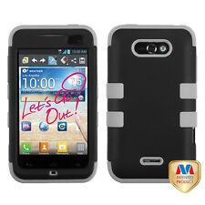 For LG Motion 4G / Optimus Regard IMPACT TUFF HYBRID Case Phone Cover Black Grey