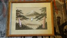 Vintage Japanese Embroidered Woven Silk Thread Mt. Fuji Lake Scene Bamboo Frame