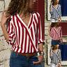 Women's Fashion Casual V-Neck Striped Chiffon Long-Sleeved Shirt Daily Blouse