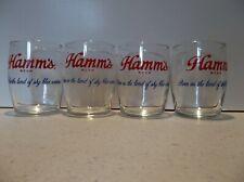 4 VINTAGE HAMMS 5 OZ BARREL BEER GLASS GOLD TRIM