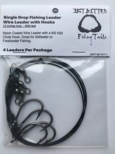Single Drop Fishing Leaders (4 pk)- Wire Leader with 6/0 Circle Hook - 80lb Test