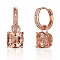 Morganite & Brilliant Diamonds 14k Rose Gold Over 2.60Ct Drop Dangle Earrings