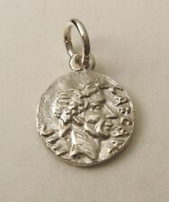 SOLID 925 STERLING SILVER SMALL ANCIENT ROMAN REPUBLIC COIN Charm/Pendant