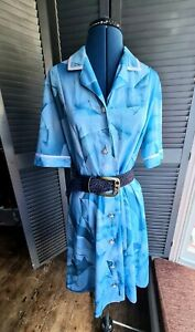 Vintage Shirt Dress, french, Blue, 1970's Size 12-14