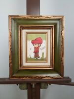 "Vintage Oil Painting on Canvas by MIMI 'Post No Bills"" Boy in Big Red Hat Signed"