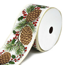 Pinecone Holly Berries Linen Wired Christmas Ribbon, 2-1/2-Inch, 10-Yard