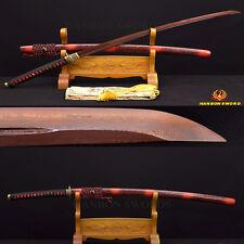 Damascus Red KATANA Clay Tempered Japanese Musashi Samurai Sword Handmade Sharp