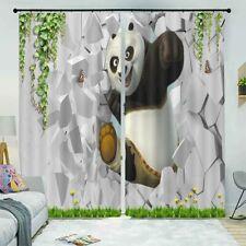 Panda Rupture Walls 3D Curtain Blockout Photo Printing Curtains Drape Fabric