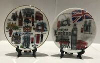 2 X London Ceramic Decoration Showpiece Plates with Display Stand Souvenir Gift