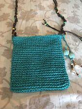 sun n sand turquoise raffia bag new. cross body great travel accessory.
