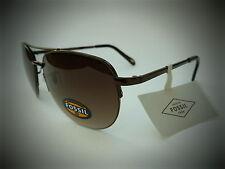NEW men's  FOSSIL brown semi rimless aviator sunglasses