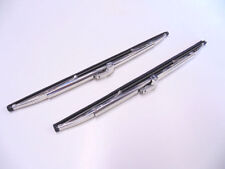 "12"" Polished Stainless Steel Front Windshield Wiper Blades Pair - New"