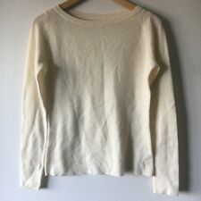100% Cashmere S Sweater Cream Ribbed Knit Lightweight Breathable Long Sleeve