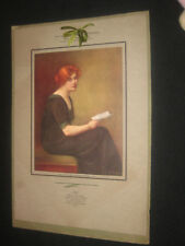 WW1 BUCHER VTG PRINT RED HAIRED GIRL HOLDING A LETTER FROM SOMEWHERE IN FRANCE