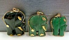 9ct Gold Elephant Pendant Jade, Onyx Or Malachite
