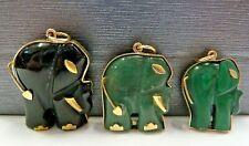 9ct Gold Elephant Pendant Jade, Onyx Or Malachite