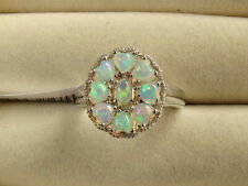 Vivid Ethiopian Opal Heart Cluster Platinum Plated 925 Silver Ring Size P/7.5