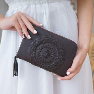 Womens Cowhide Leather Boho Woven Mandala Passport Purse Travel Bag Wallet Brown