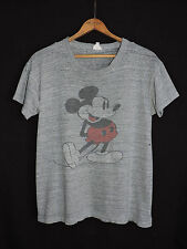 RARE Vtg 60s Mickey Mouse Walt Disney Heather Gray T-shirt Distressed Punk Rayon