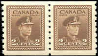Canada Mint H/NH  PAIR 2c 1942 VF Scott #264 King George VI War Coil Stamps