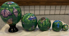 Set of 5 Hand Painted Wooden Lacquer Wood Nesting Doll Balls Globes Butterflies