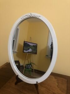 Vintage Shabby Chic Cottage Style Oval Mirror With Embossed Rose / Leaves