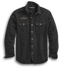 Harley-Davidson Men's Black Vintage Logo Long Sleeve Over Shirt 96282-20VM