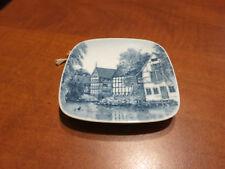 Vintage Royal Copenhagen Den Gamle By Aarhus Blue Ceramic Square Hanging Plate