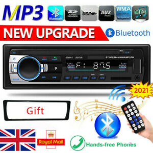 1 Din Car Radio Bluetooth Stereo FM/USB/AUX/TF In-dash Head Unit 12V MP3 Player
