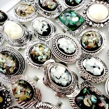 4pcs Abalone Shell silver-plated rings wholesale jewelry lots New free shipping