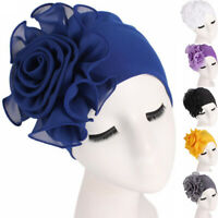 Women Lace Flower Ruffle Hat Cancer Chemo Hat Beanie Scarf Turban Head Wrap Cap#