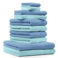Betz Juego de 10 toallas CLASSIC 100% algodón de color turquesa y azul claro