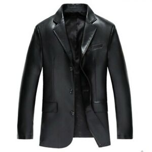 Mens Faux Leather Blazer Jacket Single Breasted Outwear Motorcycle Outdoor New L
