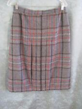Vintage Roth LeCover Skirt Size 14 NOS Gray Wool Blend Plaid Pleated Lined