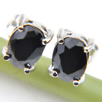 Jewelry Gift Oval Natural Black Onyx Gemstone Solid Silver Stud Hook Earrings