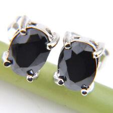 Gemstone Solid Silver Stud Hook Earrings Fashion Silver Jewelry Gift Black Onyx
