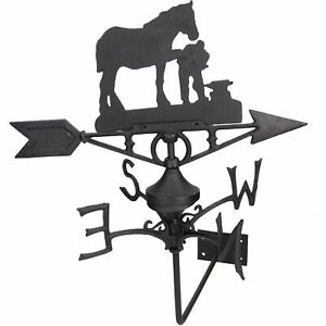 Horse / Mare Farrier Weather Vane Vain Wall Mount House Roof Cast Iron Shoe